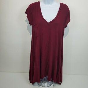FERVOUR Modcloth Womens Top Large Burgundy Soft
